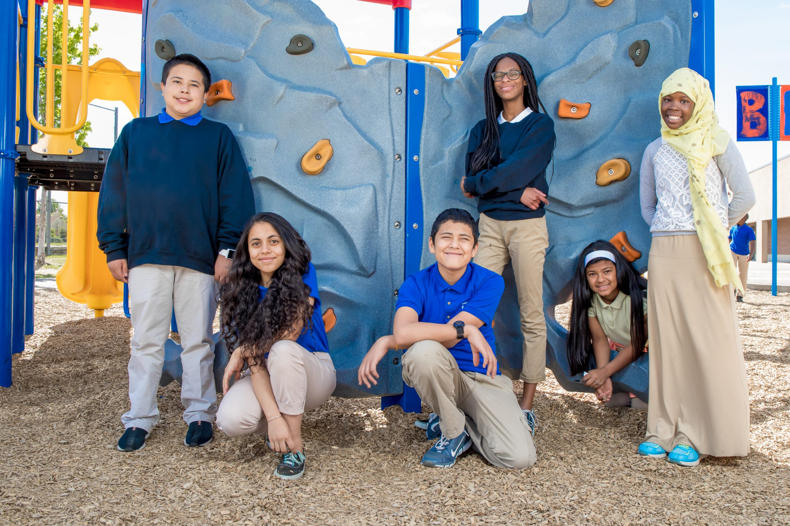 Six students on the playground